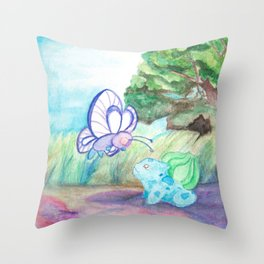 Butterfree And Bulba-saur Throw Pillow
