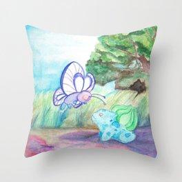 Butterfree And Bulba-saur Throw Pillow