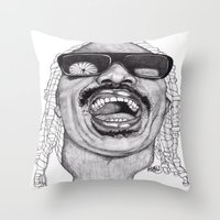 stevie nicks Throw Pillows featuring Stevie  by Paul Nelson-Esch Art