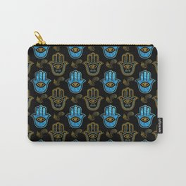 Hamsa Hand pattern - Gold and Blue glass Carry-All Pouch