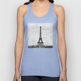 Eiffel tower, Paris France in black and white with painterly effect Unisex Tank Top