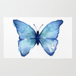 Blue Butterfly Watercolor Rug