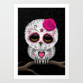 Adorable Pink Day of the Dead Sugar Skull Owl Art Print