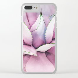 Pink Succulent Clear iPhone Case