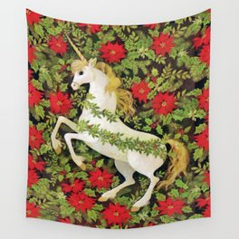 Christmas Unicorn Wall Tapestry