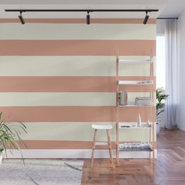 Earthen Trail Pink 4-26 Hand Drawn Fat Horizontal Lines on Dover White 33-6 Wall Mural