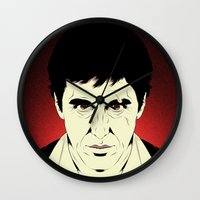 scarface Wall Clocks featuring Scarface by Renan Lacerda