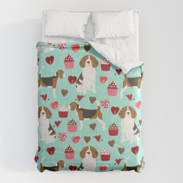 Beagle valentines day cupcakes heart love dog breed must have gifts Comforters