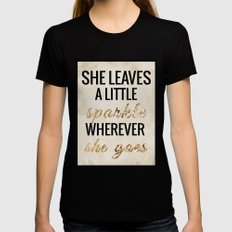She Leaves a Little Sparkle Wherever She Goes X-LARGE Black Womens Fitted Tee