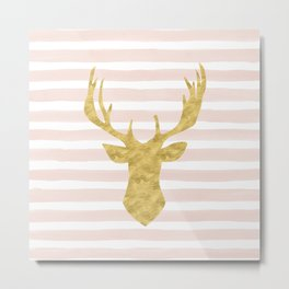 Pink Watercolor Stripes and Gold Deer Metal Print