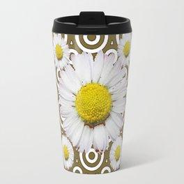 Modern Coffee Brown Deco Style Shasta Daisies Art Travel Mug
