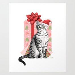 Merry Christmas Kitten Art Print