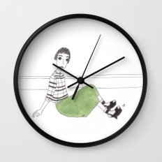 girl on the floor Wall Clock