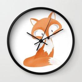 Cute fox kids illustration on white background Wall Clock