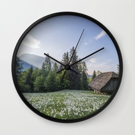 Spring by the Cottage in the Mountains Wall Clock