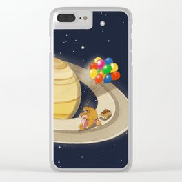 Sloth Happy Ride on Saturn Clear iPhone Case