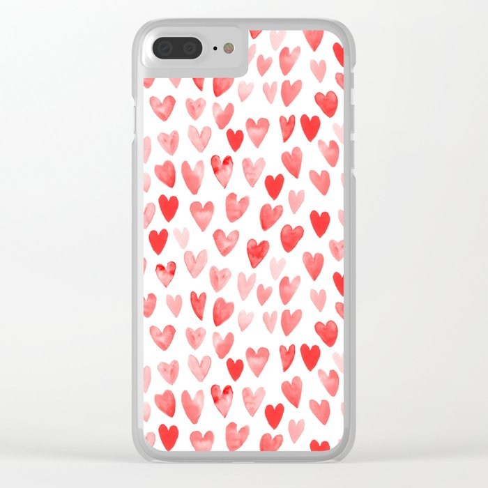 Watercolor heart pattern perfect gift to say i love you on valentines day Clear iPhone Case