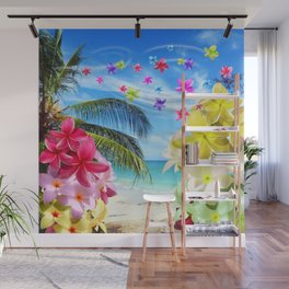 Tropical Beach and Exotic Plumeria Flowers Wall Mural