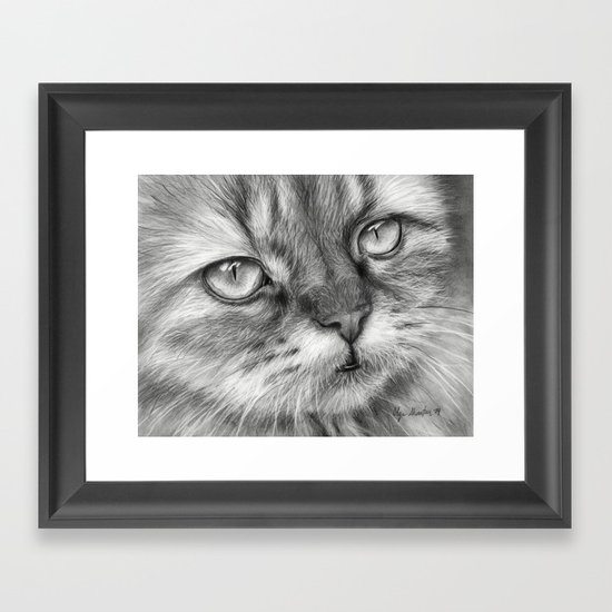 Cat Drawing Framed Art Print