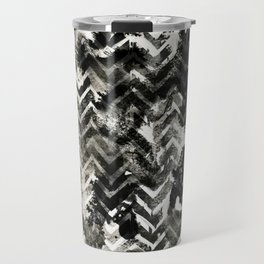 Black & White Chevron Ink Spill Travel Mug