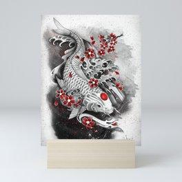 White Koi and sakuras Mini Art Print