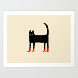Black Cat in Red Boots Art Print