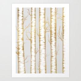 Metallic Birch Trees Art Print