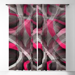 Eighties Rose Pink and Grey Funky Pattern Blackout Curtain