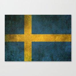 Old and Worn Distressed Vintage Flag of Sweden Canvas Print