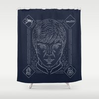 luke hemmings Shower Curtains featuring Luke by Jon Deviny