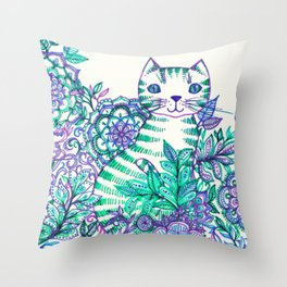 Garden Cat doodle in purple, blue & green Throw Pillow