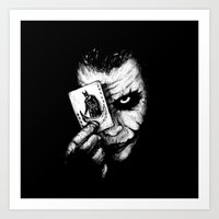 the joker Art Prints featuring Joker by NickHarriganArtwork
