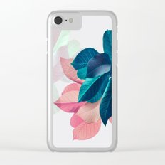Pink and Blue Leaf Clear iPhone Case