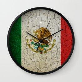 Grunge Mexico flag Wall Clock