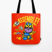 thanos Tote Bags featuring Assemble! by Demonigote