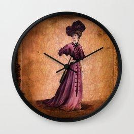 Girl in purple dress, Edwardian style  Wall Clock