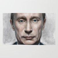 putin Area & Throw Rugs featuring Vladimir Putin by Pavel Sokov