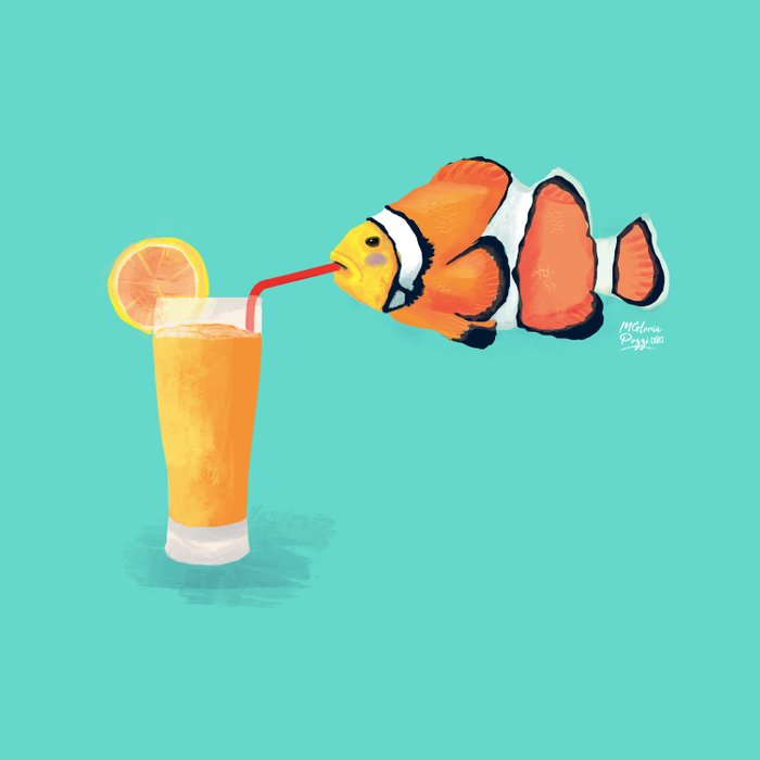 The Clown Fish Drinks Duvet Cover