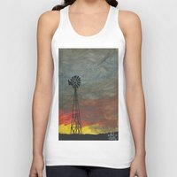 kansas Tank Tops featuring windmill kansas by BryanCorbinArt