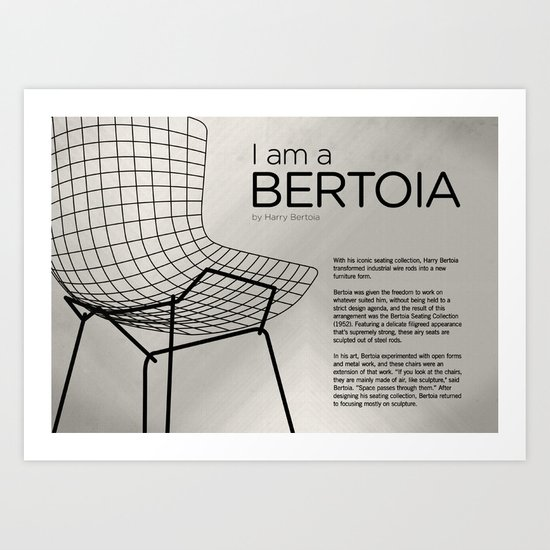 Chairs - A tribute to seats: I'm a Bertoia (information) Art Print