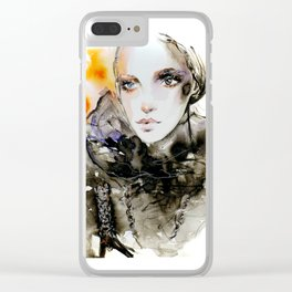Fahion Illustration Valentino Clear iPhone Case