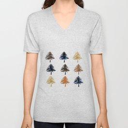 Navy moonlight Christmas trees Unisex V-Neck