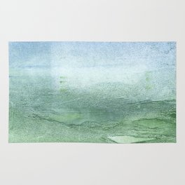 Green Blue blurred watercolor design Rug