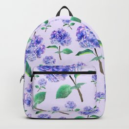 purple blue hydrangea in purple background Backpack