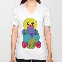 platypus V-neck T-shirts featuring Rainbow Platypus by Joy Deits
