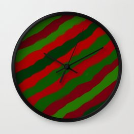 Red and Green Christmas Wrapping Paper Wall Clock