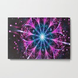 Winter violet glittered Snowflake or flower Background Metal Print