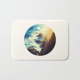 Mid Century Modern Round Circle Photo Graphic Design Blue Waters Rocky Shores With Sunlight Bath Mat