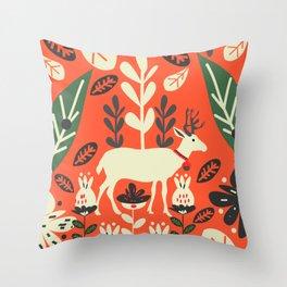 Deer festivity Throw Pillow