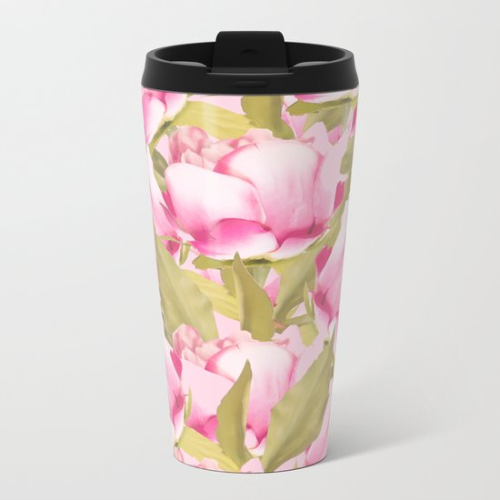 Pink Peonies on a pink background - #Sociey6 #buyart Metal Travel Mug
